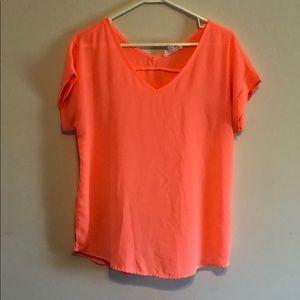 Neon Pink/Peach Hippie Rose Shirt